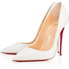 Christian Louboutin So Kate ($675) ❤ liked on Polyvore featuring shoes, pumps, heels, christian louboutin, louboutin, neige, leather pumps, white pointed toe pumps, pointy-toe pumps and white stiletto pumps