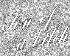 """Bullshit Adult Coloring Page The swearing words """"Son of a bitch"""" Doodles - 2 background white and black by PicToGraphique on Etsy"""