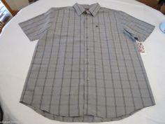 Men's Quiksilver short sleeve NEW L SKT1 grey button up shirt wagon wheel surf