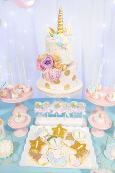 Cakescape from a Magical Unicorn Birthday Party on Kara's Party Ideas | KarasPartyIdeas.com (16)
