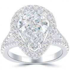 4.42 Carat H-SI1 Pear Shape Diamond Engagement Ring 14k White Gold Pave Halo - Thumbnail 1
