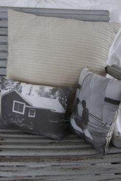 Freezer paper through printer, iron onto fabric, sew into pillow! Voila, photo pillow.
