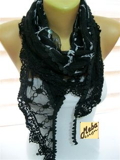 Black scarf-Fashion scarf  gift Ideas For Her by MebaDesign