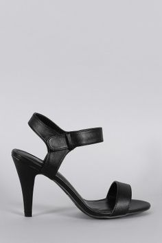 Qupid Leatherette Open Toe Ankle Strap Heel