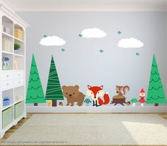 Wall Decals Forest Animals - A great addition to any child's bedroom, play room, or nursery.  ♥ Simply peel and stick - no fussy application ♥ Fully REMOVABLE and REUSABLE