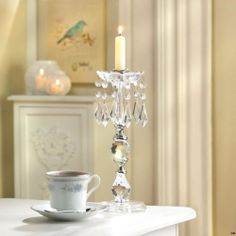 Lot of 10 Jeweled Acrylic Candlestick Candle Holders Wedding Centerpieces