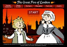 Screenshot the Museum of London Great Fire of London 1666 game with a cartoon look boy and female servant standing in front of the Thames River and a burning skyline Uk History, London History, British History, London Activities, Eyfs Activities, The Fire Of London, School Themes, School Ideas, School Tips