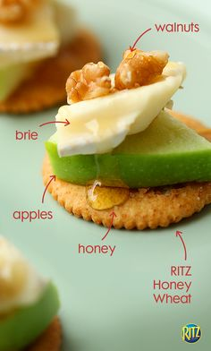 In need of an apple-themed Thanksgiving appetizer? Try this simple snack: RITZ Honey Wheat crackers topped with slices of Granny Smith apples, brie cheese, and toasted walnuts. Drizzle some honey for extra sweet taste! Look for more RITZ recipes on our Pinterest page.