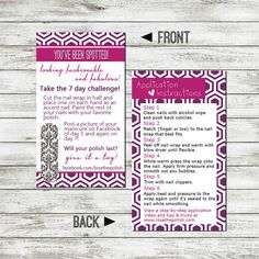 Jamberry 7 day challenge card
