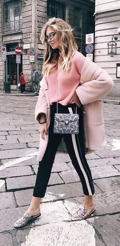 side stripe trousers. pink coat. spring style.