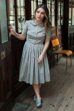 Liberty print dress with peter pan collar