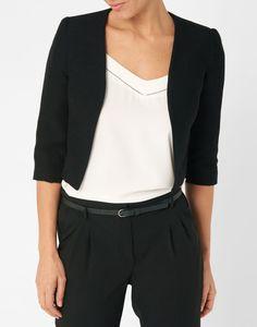 Veste courte en viscose unie noir