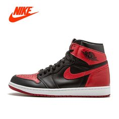 competitive price 35b49 16c0a Original New Arrival Official Nike Air Jordan 1 OG Banned AJ1 Breathable  Men s Basketball Shoes Sports Sneakers
