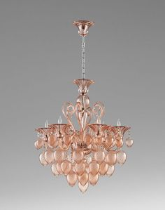 Purple Glass Chandelier 8 Light Murano Style Peach French Vintage Chic New | eBay