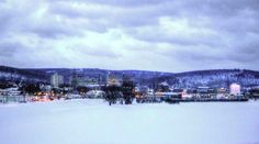 A frozen Chenango River and the view from the north of Binghamton - 2/5/2015
