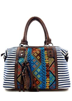 Amazing bag, must have this summer! Optional adjustable shoulder strap. Canvas & faux-leather with silver tone hardware. 1 Zipper pocket and 2 slip pockets exterior. 1 rear zipper pocket & closure sip