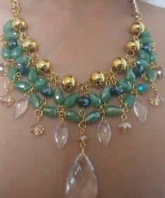 Set Collar Y Aretes De Perla Y Cristal Moda Bisuteria Fina - $ 195.00