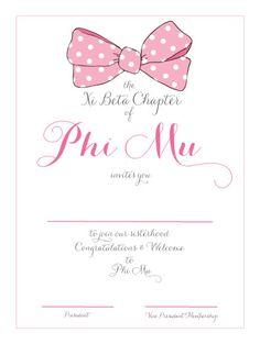 Phi Mu loves pink bows!