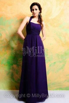Empire Chiffon Halter Floor-length Purple Bridesmaid Dress at Millybridal.com