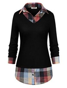 5dfaceb59c29f9 DJT Women's Classic Collar Curved Hem 2 in 1 Knit Pullover Plaid Contrast T- Shirt Top. Bluse, Damen ...