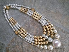 Vintage Chanel Inspired 1960 Multi-strand Pearl Statement Necklace with 2014 Chanel Runway Update by BlingBeadedBaubles, $240.00 USD