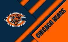 Download wallpapers Chicago Bears, 4k, logo, NFL, orange blue abstraction, material design, American football, Chicago, Illinois, USA, National Football League Chicago Bears Wallpaper, Football Wallpaper, American Football, Chicago Map, Chicago Illinois, St Charles Illinois, Bears Football, Custom Football, Bear Decor