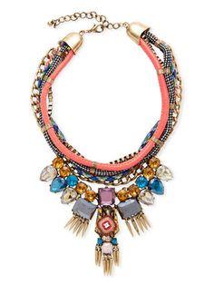Sparkling Sage Multi Color Spike & Rope Bib Necklace orig $163 only $75