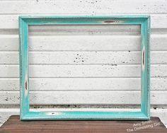 aqua mint 11 x 14 frame rustic distressed by thedistressinggirl - Mint Picture Frames