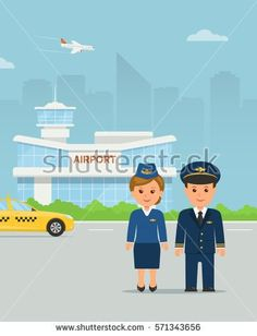 The pilot and stewardess in uniform on background building airport . Crew airplane. Worker airlines. Vector illustration in a flat style.