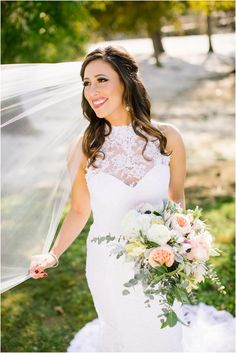 Love this gown with the lace top! And spring wedding bouquet with pink, yellow, and greenery