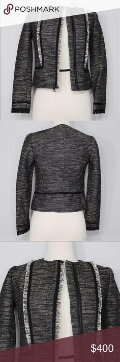 """Vince Bust: 17"""" (laying flat) Length: 19"""" (shoulder to hem) Sleeve Length: 23"""" (top of shoulder to opening)  A super chic. edgy jacket! Never been worn; NWT. Zippers up. Chic fringe details on torso and ends of sleeves. 62% polyester 34% cotton 4% viscose. Leather trim at zipper. Lined. Lining is acetate. No holes, stains or imperfections. Comes from a smoke free environment.  📦Bundles welcome ❌NO trades, please. ⚡️Same/Next day shipping 👌🏻Reasonable offers welcome through the offer…"""