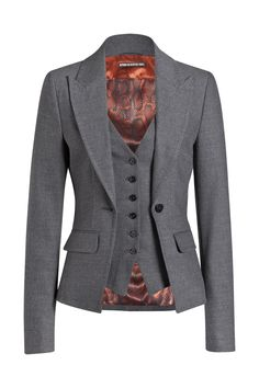 Women& fashion that inspires- Damenmode, die inspiriert DRYKORN gray wool blazer & vest – classic - Stylish Work Outfits, Classy Outfits, Cool Outfits, Office Fashion, Work Fashion, Suit Fashion, Fashion Outfits, Womens Fashion, Business Outfits