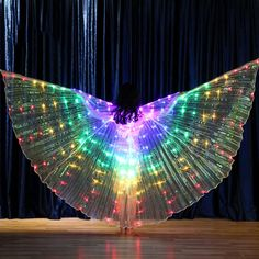 Rainbow Wings - LED Butterfly Costume - The Goodman Store Butterfly Costume, Butterfly Wings, Carnival Show, Led Costume, Rainbow Light, Dance Recital, And Just Like That, Childrens Party, Cool Costumes