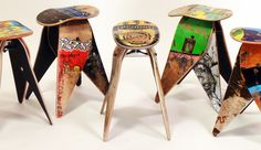 skateboards, stuff, recycl skateboard, skateboard stool, real skateboard, design, stools