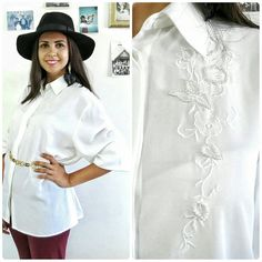 Vintage white blouse with pearl beads and flower by girlsaboutcity