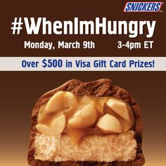 Who are you when you're hungry?  Have some yummy Snickers recipes?  Tell us at the #WhenImHungry Twitter party on Monday, March 9th at 3pm ET! #client #ad