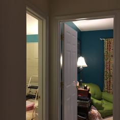 Color test of the two rooms next to each other-- the left room is currently unpainted, I just slapped some above the window to get an idea. Anyone think they clash horribly?