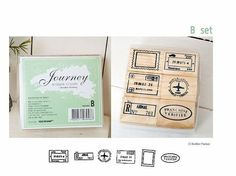 Travel Journey Airmail Airplane Mounted Rubber Stamp 6 pieces Set B via Etsy
