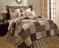 Our custom made primitive Cheston Patchwork Block Queen Quilt will add country charm to your bedroom. Get matching accessories at Primitive Star Quilt Shop. Colchas Quilt, Twin Quilt, Quilt Bedding, Quilt Blocks, Primitive Bedroom, Primitive Quilts, Primitive Country, Primitive Stars, Primitive Homes