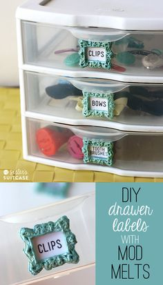 Make your own label holders to get organized using #ModMelts www.sisterssuitcaseblog.com