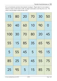 Number bond dominoes to 100
