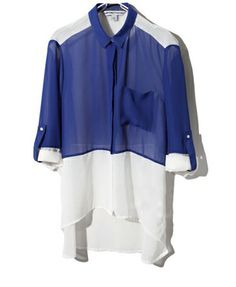 Chiffon Blouse with Color Block Design and Dip Hem