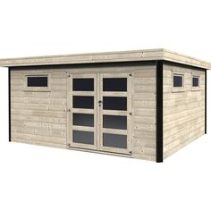 Casetta in legno Eveline 468 x 426 cm, spessore 28 mm Backyard Sheds, Garden Sheds, Pool Cabana, Tiny House Living, Cuisines Design, House In The Woods, Decoration, Garage Doors, Outdoor Structures