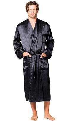 Men's Classic style black printed Silk Belgravia Tailored Shawl Robe honors the infinite style in a discrete print celebrating the grand tradition of the London tailoring excellence! Men's Robes, Lingerie Gown, Sleepwear Women, Men's Loungewear, Smoking Jacket, Mens Clothing Styles, Mens Fashion, Short Kimono, Satin Pajamas