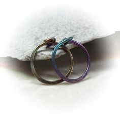 Basic and simple yet oh so perfect hammered tiny hoop earrings in your choice of colors for men and women. Choose your diameter!Niobium (hypoallergenic, does not contain Little Hoop Earrings, Piercings, Silver Rings, Wedding Rings, Rainbow, Engagement Rings, Color, Jewelry, Women