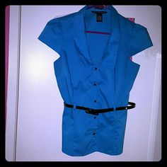 Turquoise belted blouse Low neck, cute button up with belt. Looks great with jacket and black pants. Tops Blouses