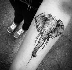 This sketch style elephant by Inez Janiak