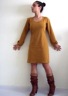 Long Sleeve dress Long sleeve basic mustard dress by onor on Etsy  http://www.etsy.com/listing/87582789/long-sleeve-dress-long-sleeve-basic?ref=tre-2046479680-13