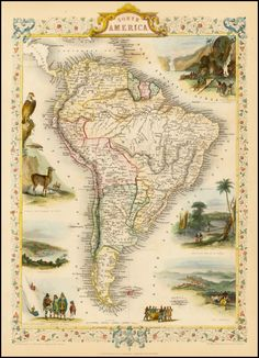 Reproduction of a Vintage Map of South America from Fantastic Photo Poster Print - Old Archive Cartography Vintage Maps, Antique Maps, Vintage Wall Art, Antique Prints, Vintage Posters, Brazil Argentina, South America Map, Latin America, Celestial Map