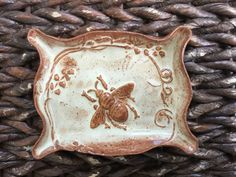 Ceramic Bee Dish  Honey Bee  Soap Dish or by QueenBeePottery